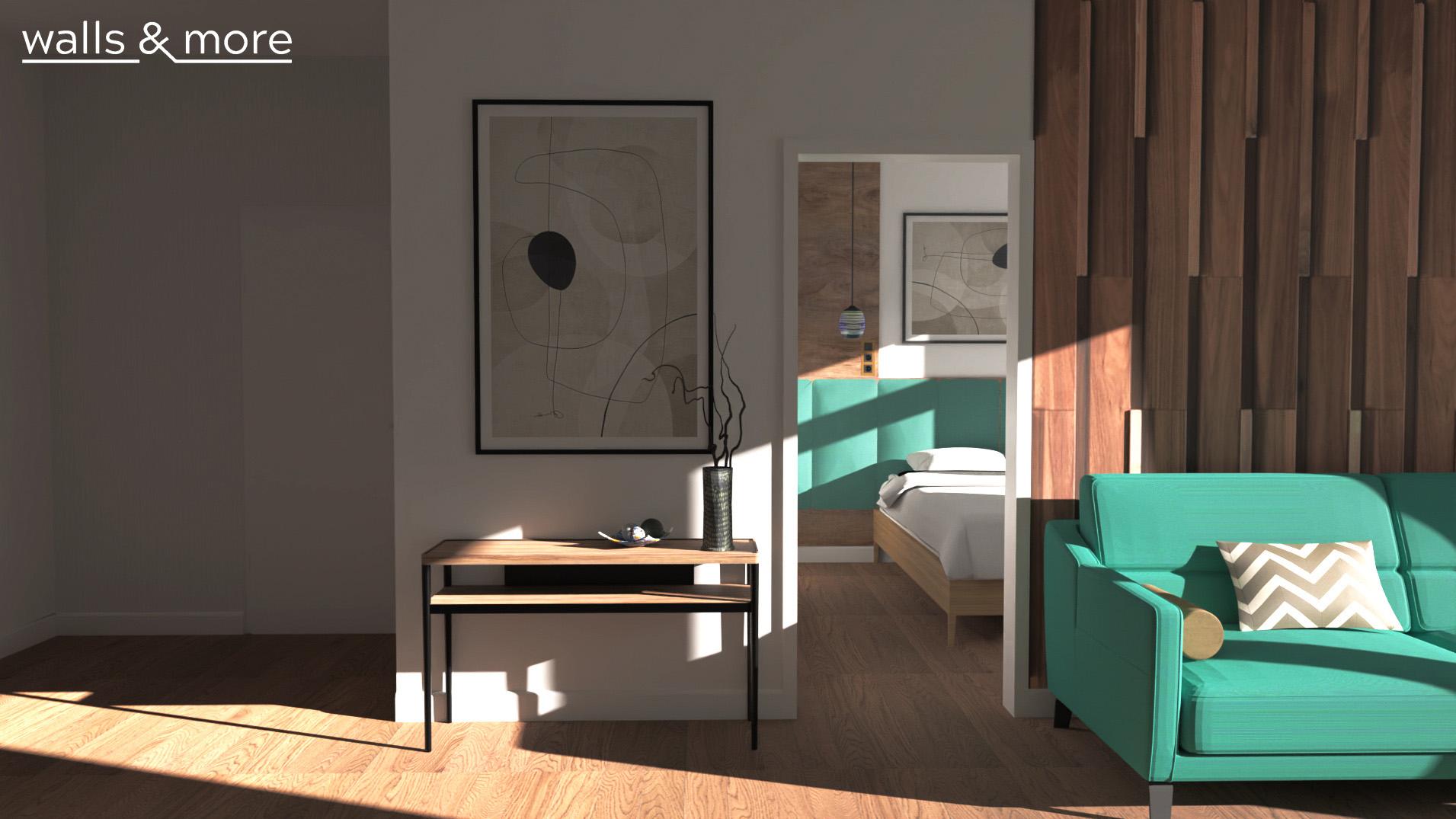 projektowanie wnętrz wallsandmore małe mieszkanie biel i zieleń