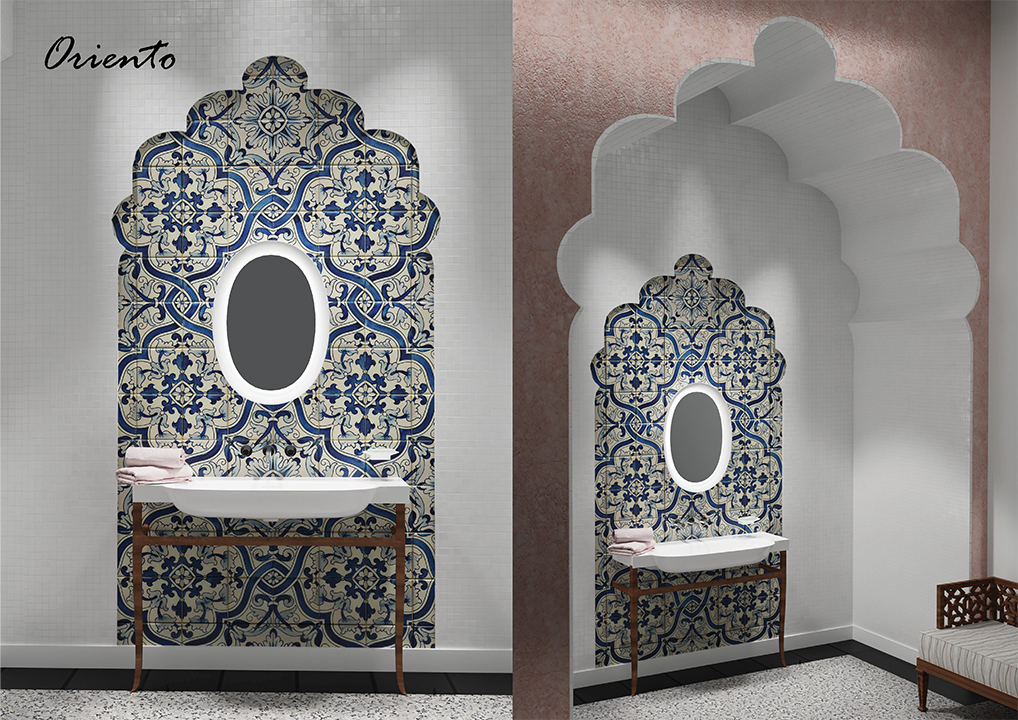 łazienka ceramika Laufen new classic łazienka w stylu orientalnym umywalka świecące lustro wallsandmore walls&more projekotwanie wnętrz architekt wnętrz Warszawa