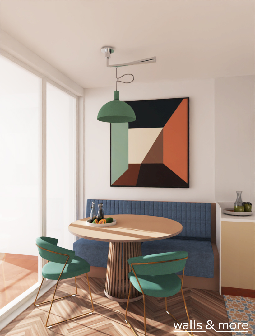 mały salon z kuchnią siedzisko tapicerowane lampa na wysięgniku okrągły stół wallsandmore walls&more projekotwanie wnętrz architekt wnętrz Warszawa