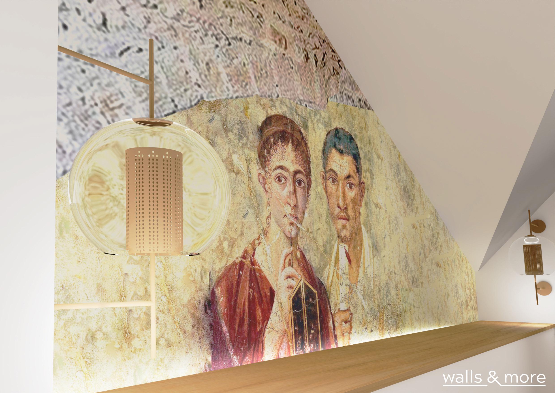 sypialnia na poddaszu para z Pompei wallsandmore walls&more projekotwanie wnętrz architekt wnętrz Warszawa