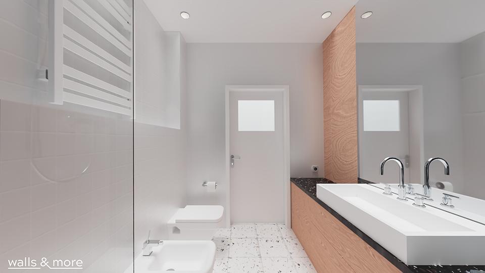 męska łazienka czarno biała zabudowa w łazience długi blat wallsandmore walls&more projekotwanie wnętrz architekt wnętrz Warszawa