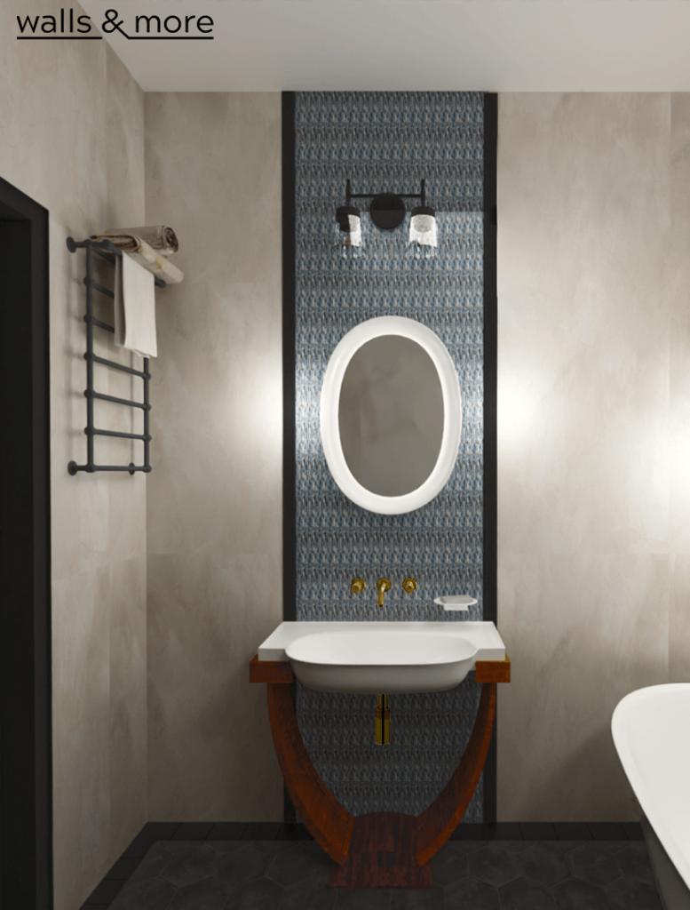 łazieka retro łazienka w stylu klasycznym klasyczna łazienka art deco laufen złota bateria wallsandmore walls&more projekotwanie wnętrz architekt wnętrz Warszawa